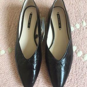Zara V-Cut Leather Ballerina Flat Patent Black 37